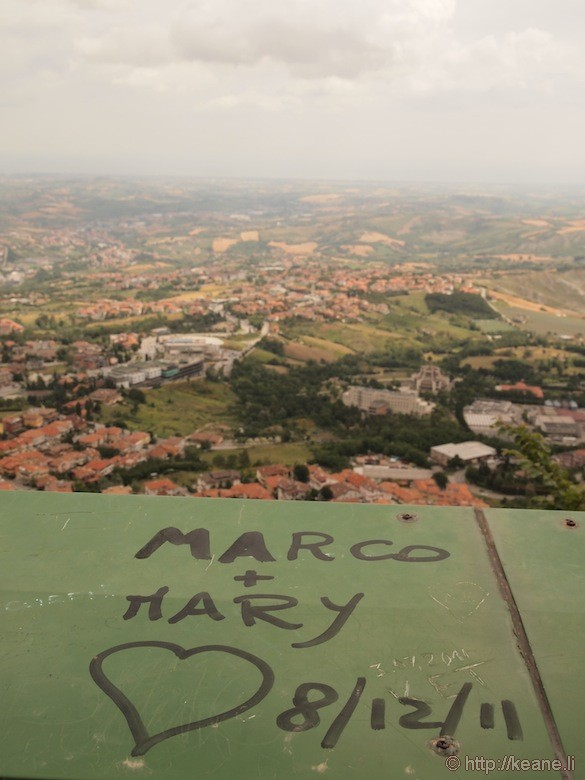 View from the top of San Marino and Love Graffiti