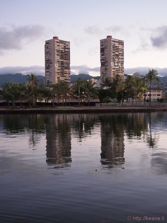 Sunrise along the Ala Wai Canal in Waikiki
