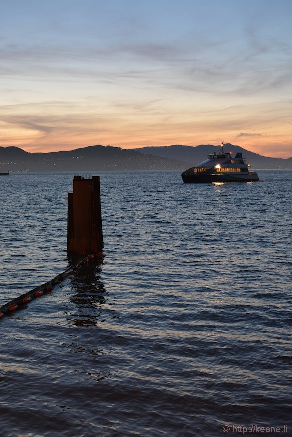 Ferry at Sunset in San Francisco Bay