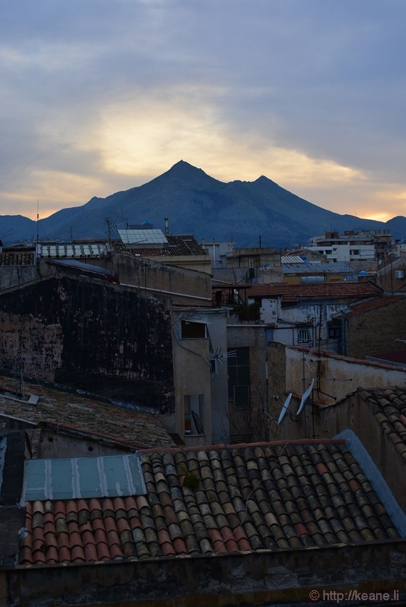 Palermo Rooftops and Mountain