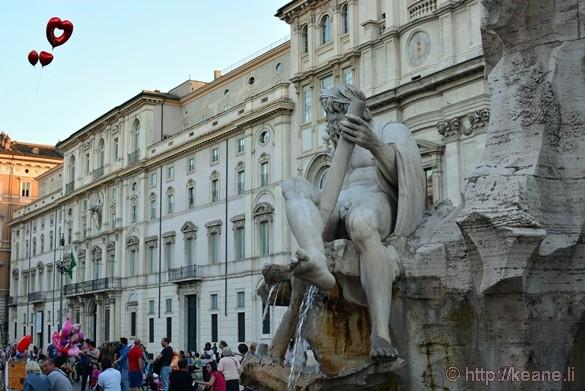 Bernini's Fontana dei Quattro Fiumi in Piazza Navona and Heart Balloons