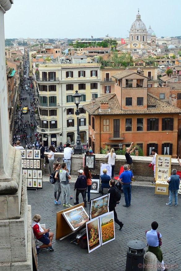 View from the Top of the Spanish Steps of Via dei Condotti