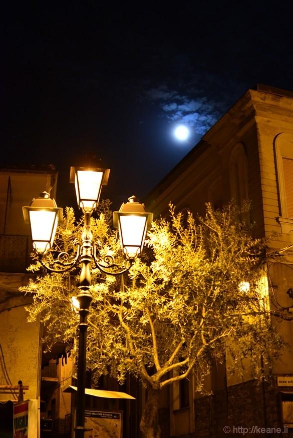 Full Moon and Street Lights in Monteforte Cilento