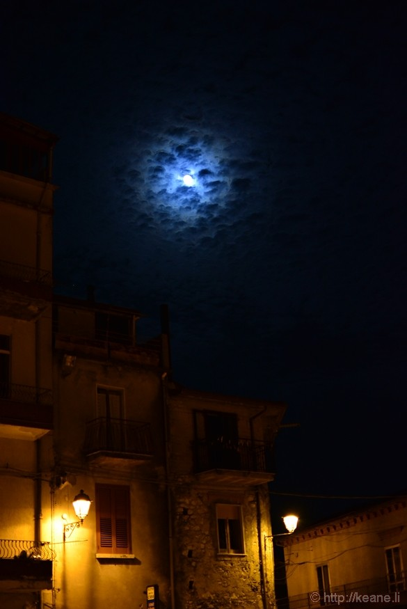 Full Moon over Monteforte Cilento at Night