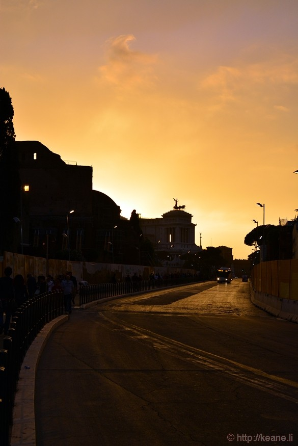 Via dei Fori Imperiali at Sunset