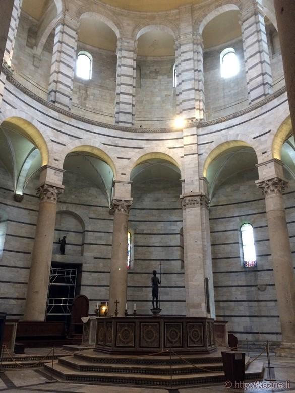 Inside the Battistero di San Giovanni Battista in Pisa