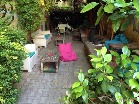 Garden at the Beehive Hostel/Hotel in Rome