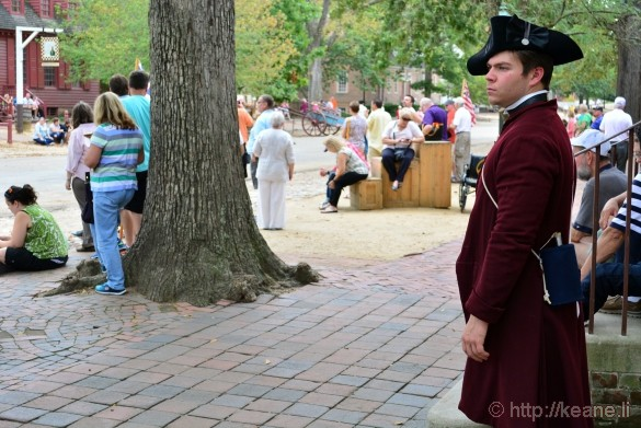 Colonial Williamsburg - Actor in Costume Watching Crowd