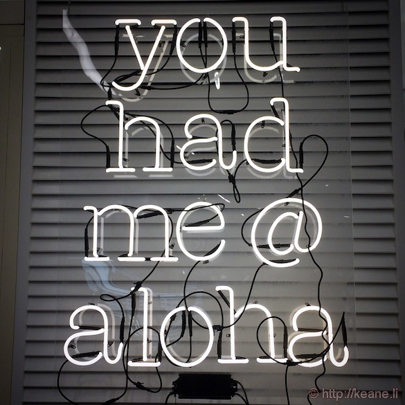 """Oahu - """"You Had Me at Aloha"""" Neon Sign in Bloomingdale's"""