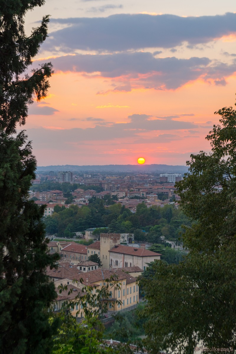 Sunset View of Verona from the Castel San Pietro
