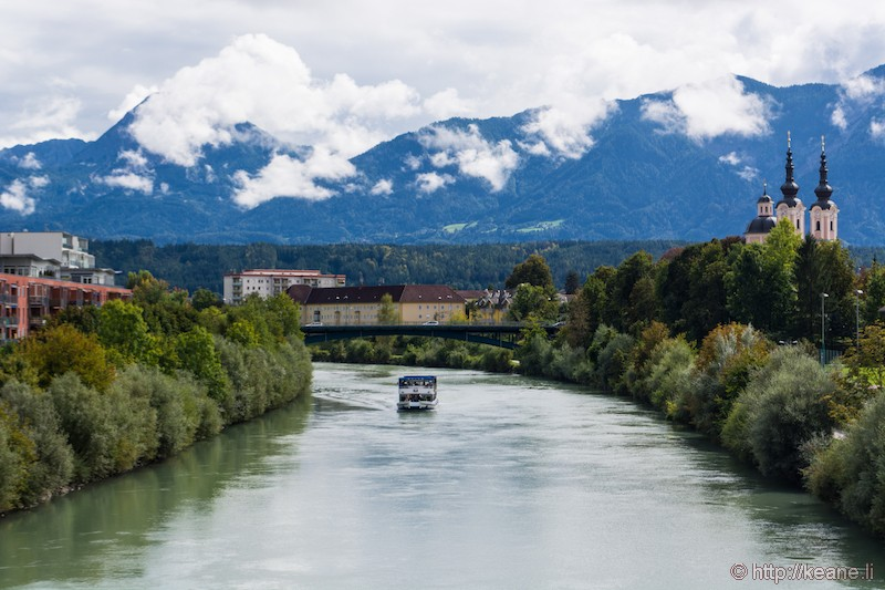 Drava River in Villach, Austria and the Heiligenkreuz Kirche
