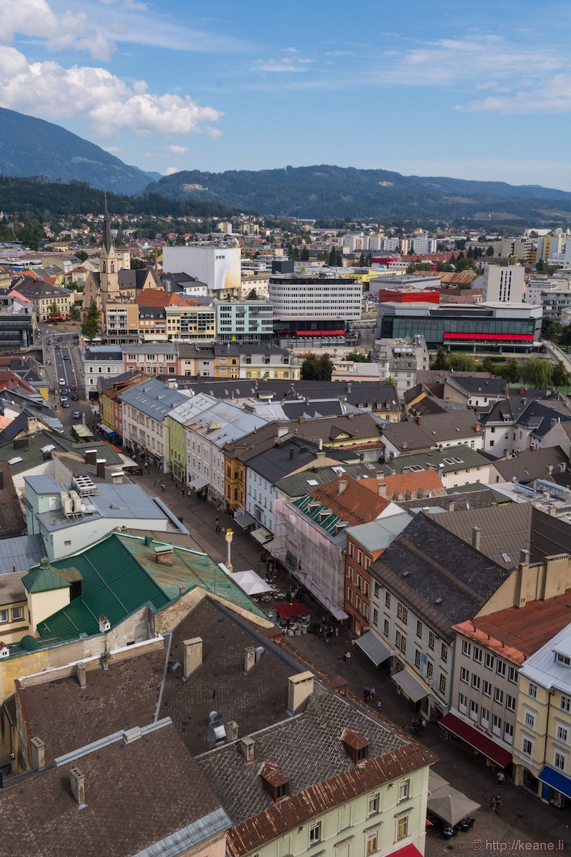 View of Villach from the Bell Tower of Parish Church St. Jakob