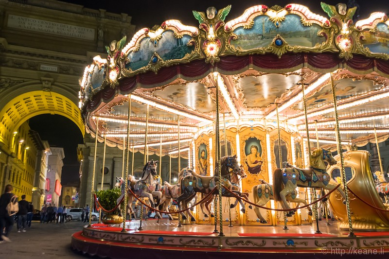 Carousel in Piazza della Repubblica at Night