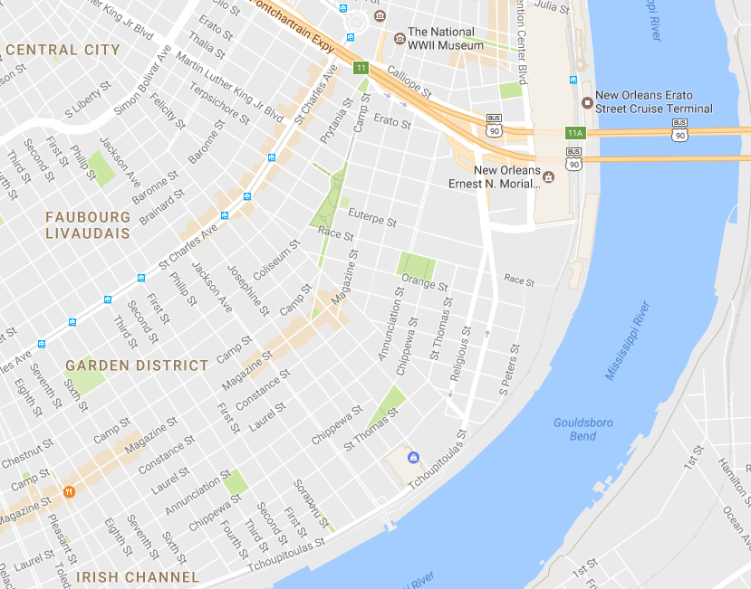 Map of the Garden District in New Orleans