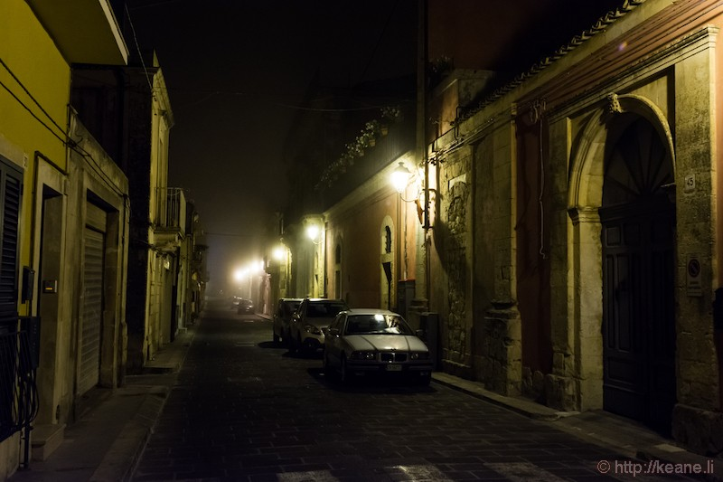 Palazzolo Acreide in the Night Fog
