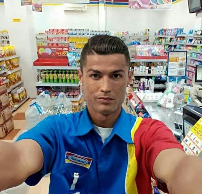 Heboh Cristiano Ronaldo Jadi Karyawan Indomaret