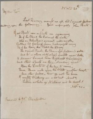 Keats to Haydon, 20 Nov 1816. John Keats Collection, 1814-1891 (MS Keats 1.3). Houghton Library, Harvard University.