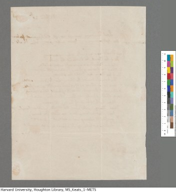 The reverse side of Keats's letter.