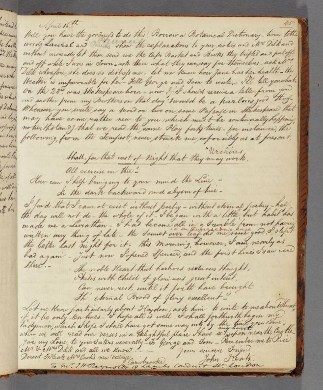 Transcript of Keats's letter to J. H. Reynolds, 17/18 April 1817. From Richard Woodhouse's letter notebook. John Keats Collection, 1814-1891 (MS Keats 3.3). Houghton Library, Harvard University.