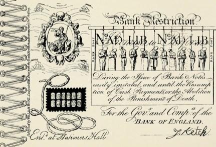 A satirical forged banknote by George Cruikshank.