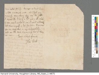Page 2 of Keats's 10 June 1817 letter to Taylor and Hessey. Keats Collection, 1814-1891 (MS Keats 1.9). Houghton Library, Harvard University.