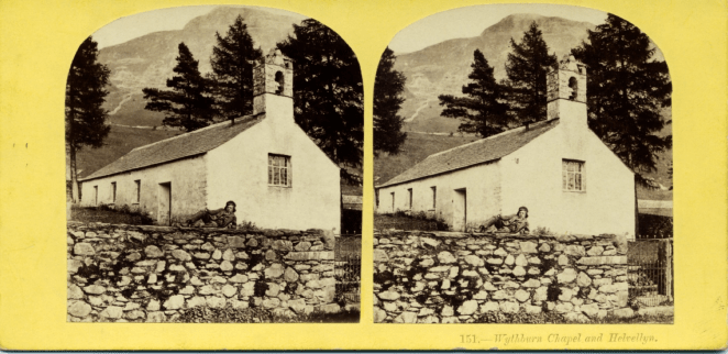 Stereograph by Alfred Pettitt, showing Wythburn Chapel with Helvellyn towering in the background.