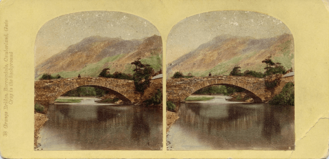 Stereograph by Thomas Ogle and Thomas Edge, showing the Grange Bridge over Derwent Water, with Gate Crag looming in the background.