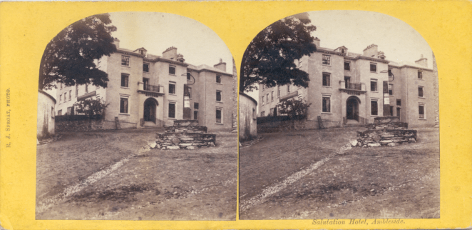 Stereograph by R. J. Sproat, showing the Salutation Inn at Ambleside.