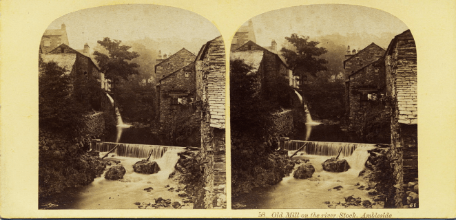 Stereograph by Thomas Ogle and Thomas Edge, showing the Old Mill on the River Stock.
