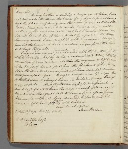 Image of Jane Porter's letter to Henry Neville as copied by Woodhouse.