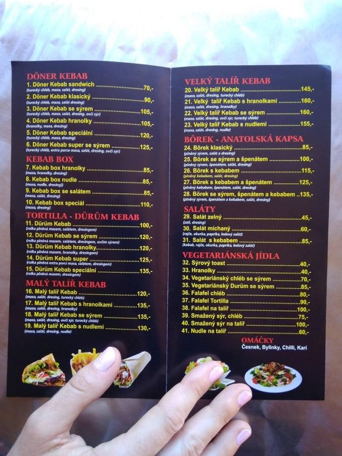Menu - Original Döner Kebab House, Tábor