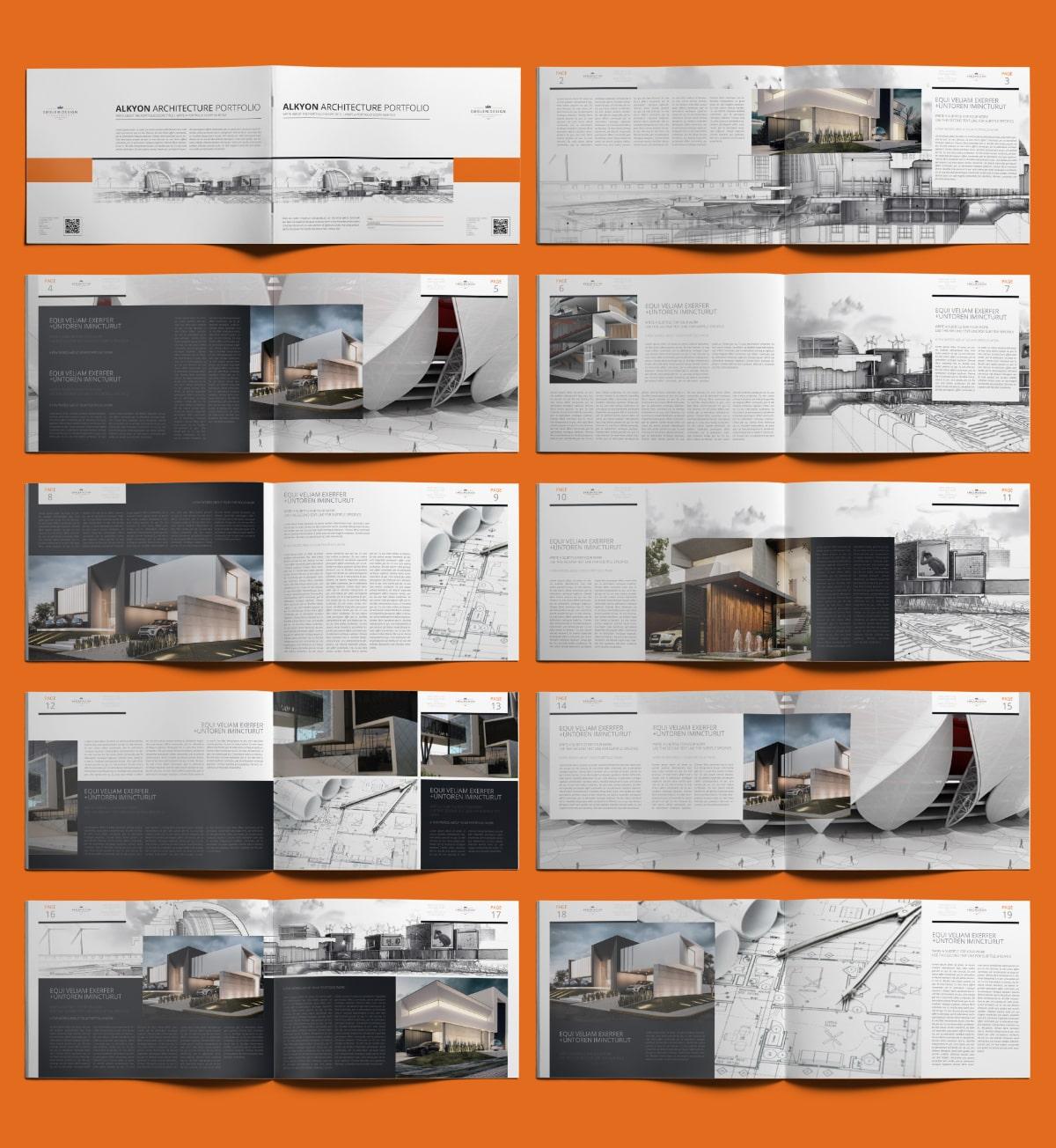 Alkyon Architecture Portfolio A4 Landscape - Layouts