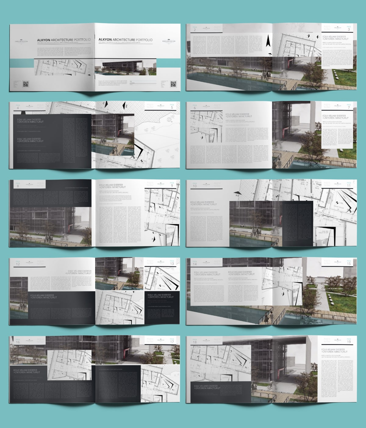 Alkyon Architecture Portfolio US Letter Landscape - Layout Preview