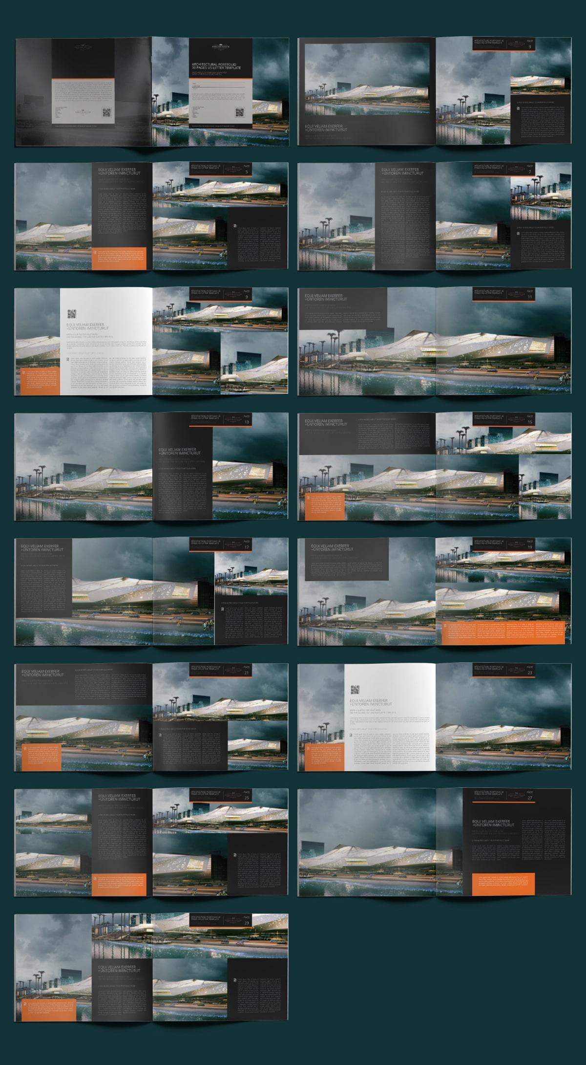 Architecture Portfolio 30 Pages US Letter Template - Layouts