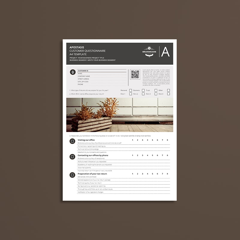 Apostasis Customer Questionnaire A4 Template