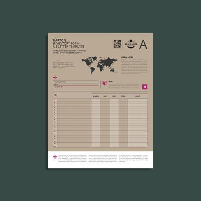 Karton Inventory Form US Letter Template