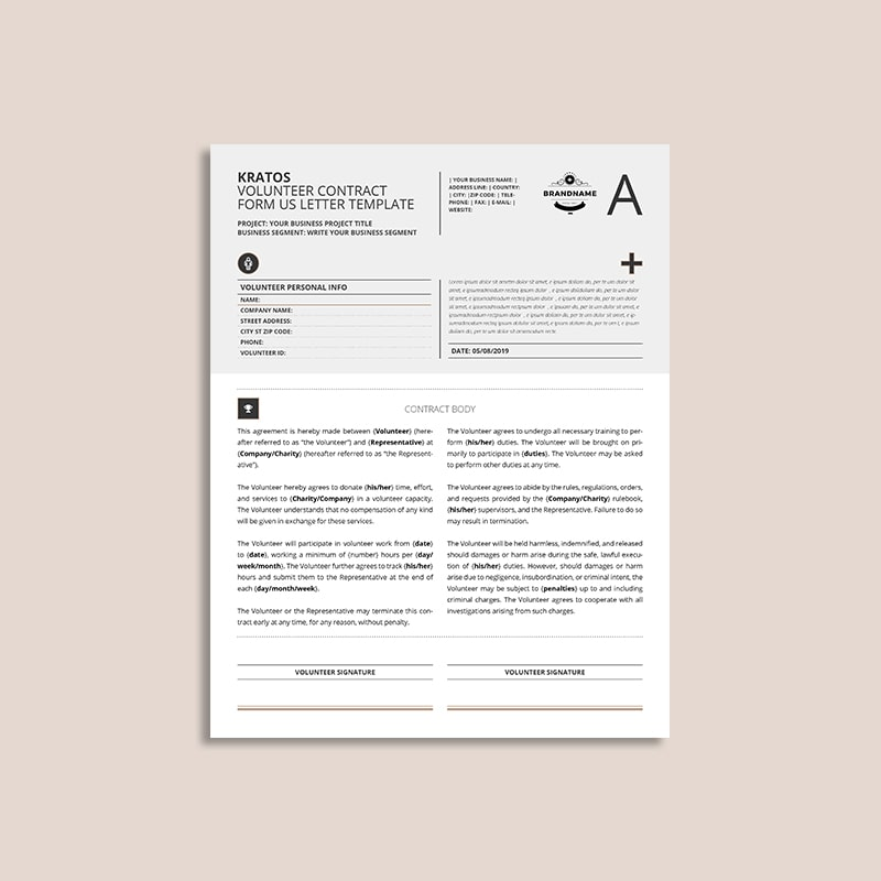 Kratos Volunteer Contract Form US Letter Template