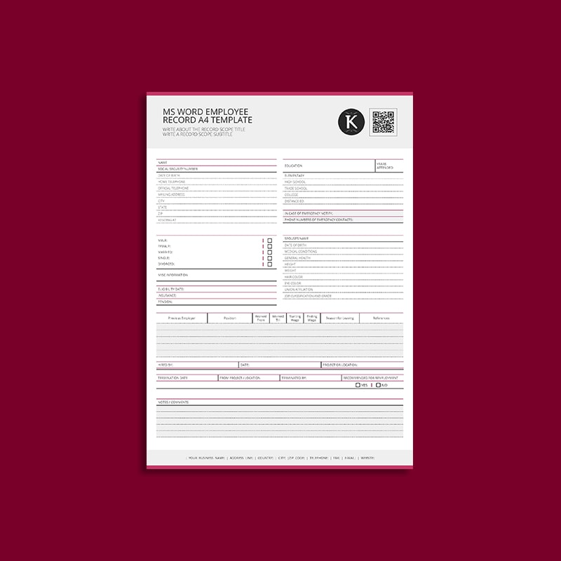 MS Word Employee Record A4 Template