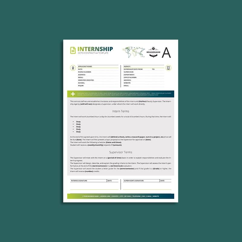 Octo Internship Contract A4 Template
