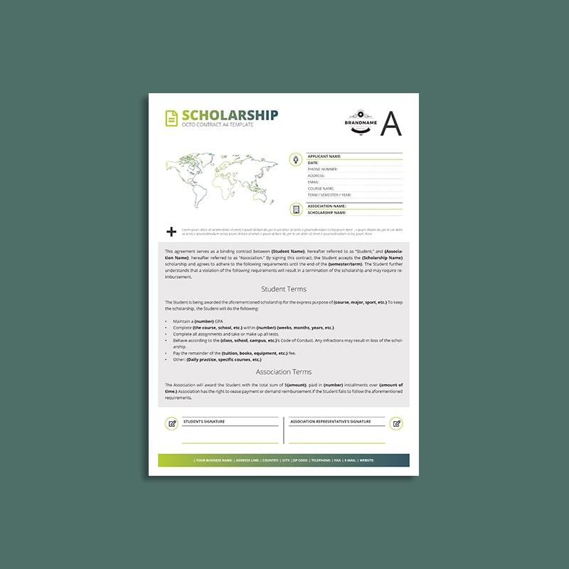 Octo Scholarship Contract A4 Template