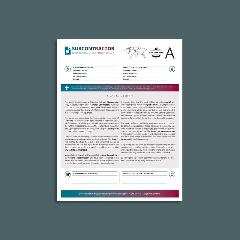 Octo Subcontractor Agreement US Letter Template