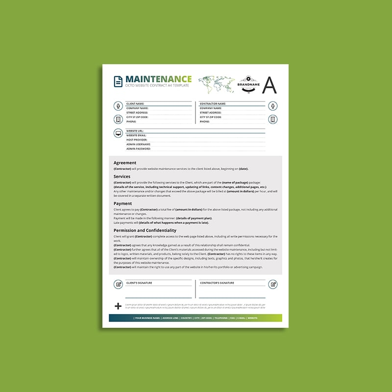 Octo Website Maintenance Contract A4 Template