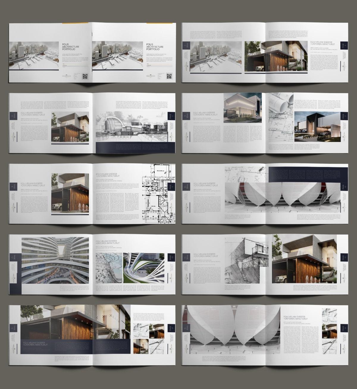 Polis Architecture Portfolio A4 Landscape - Layouts