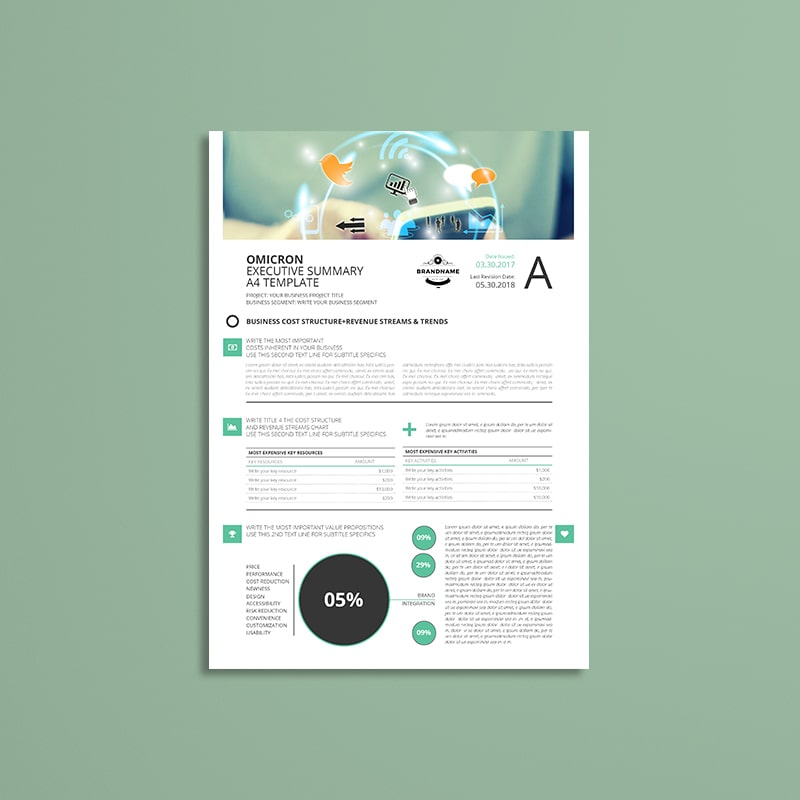 Sigma Executive Summary A4 Template | keboto org