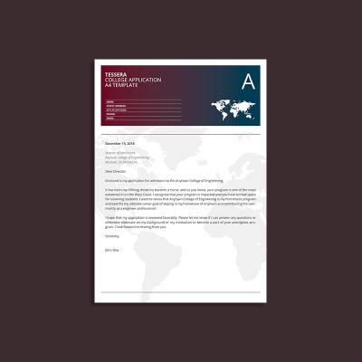Tessera College Application A4 Template