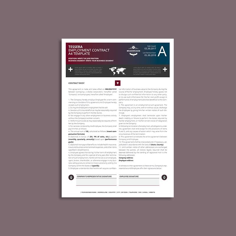 Tessera Employment Contract A4 Template
