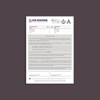 Tessera Job Bidding Contract A4 Template