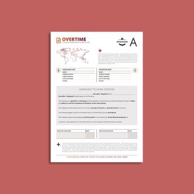 Tessera Overtime Agreement A4 Template