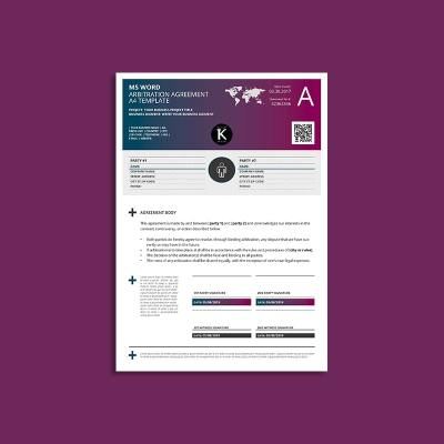 MS Word Arbitration Agreement A4 Template