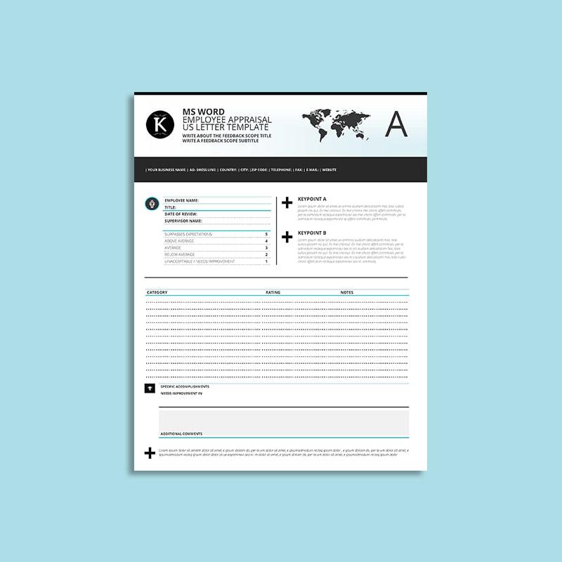 MS Word Employee Appraisal US Letter Template